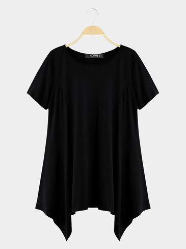 Black Casual Round Neck Swing Mini Dress