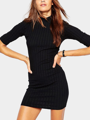 Sexy Black Crew Neck Knit Dress with Short Sleeves