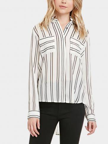Stripe Shirt with Hi-low Hem