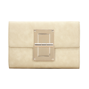 Beige Leather-look Gold-tone Metal Clutch Bag with Shoulder Strap