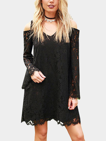 Fashion Black V Neck Cold Shoulder Lace Dress
