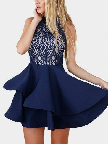 Sleeveless Lace Mini Dress with Flounced Hem