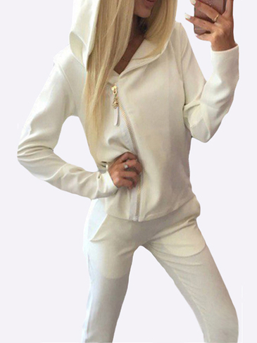 White Casual Hooded Suit
