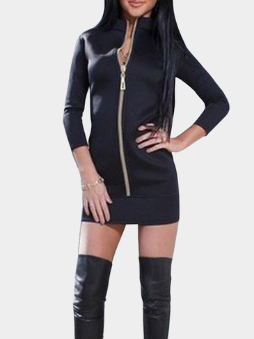 High Neck Zipper Design Mini Dress in Black