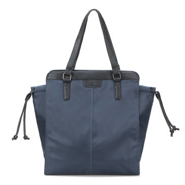 Blue Shoulder Bag with Drawstring Closure