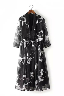 V-neck Drawstring Waist Print Dress