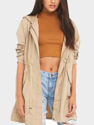 Khaki Hooded Trench Coat With Drawstring Wasit