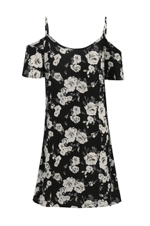 Sexy Loose Random Floral Print Cold Shoulder Cami Dress
