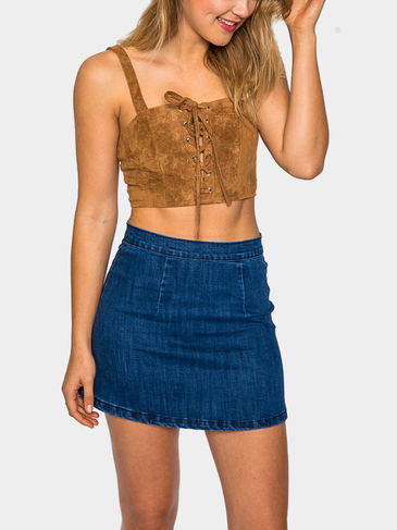 Brown Suede Lace-Up Cropped Bralet