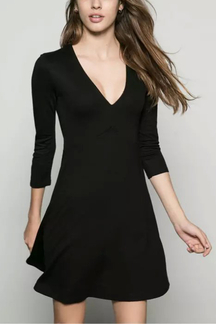 Black Long Sleeve V Neck Dress