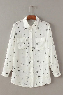 See-through White Lapel Neck Random Star Pattern Shirt