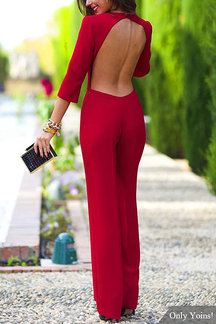 3/4 Length Sleeves Backless Jumpsuit