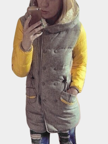 Yellow Long Sleeves Zipper Fastening Hooded Coat with Pockets