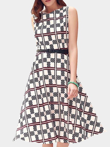 Geometrical Pattern High Waist Dress