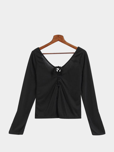 Black Lace-Up Long Sleeve Top