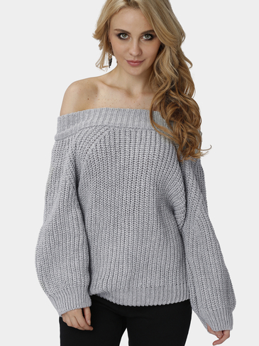 Grey Off Shoulder Pullover Knit Sweater