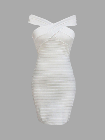 White Cross Neck Ribbed Midi Dress