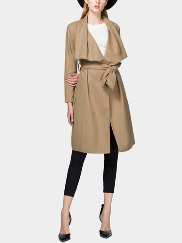 Camel Fashion Lapel collar Long Trench Coat with Belt