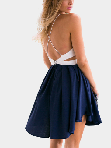 Sexy Backless and Sleeveless Mini Dress with Cut Out Details