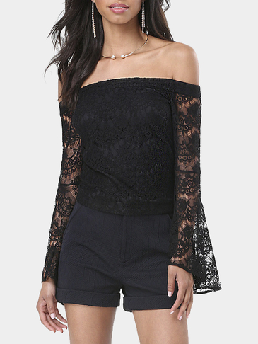 Black Off Shoulder Hollow Lace Detail Flared Long Sleeves Top