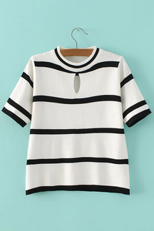 Loose Casual White Base Crew Neck Hollow Out Details T-shirt
