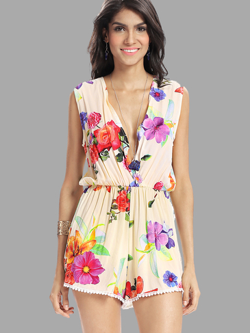 Sleeveless Plunge Random Floral Print Playsuit