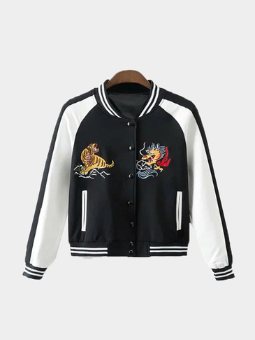 Black And White Splicing Bomber Jacket With Animal Embroidery Pattern