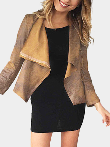 Brown Suede Ткань Zipper Biker Jacket