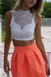 White High Neck Crochet Lace Insert Crop Top with Self-tie Back