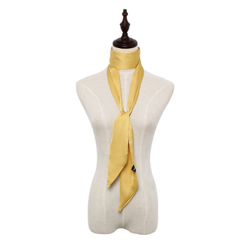 Silky-look Skinny Long Scarf in Yellow