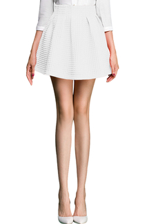 White High Waist Mini Pleated Skater Skirt