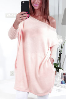 Pink Knitted One Shoulder Sweater Dress