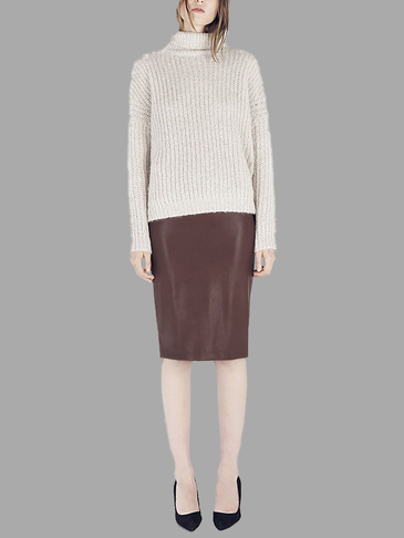 Artificial Leather Pencil Skirt in Brown