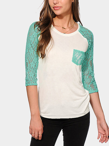 Green Lace Sleeves Splicing Top