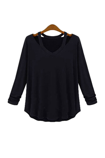 Plus Size Long Sleeve Loose Blouse in Black