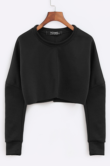 Black Casual Long Sleeves Crop Top