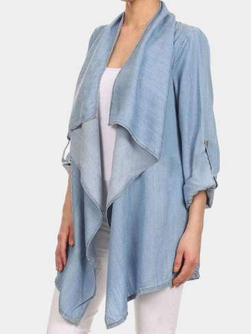 Blue Denim Open Front Irregular Hem Trench Coat