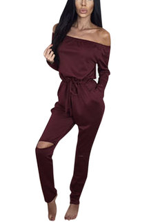 Burgundy Off Shoulder Drawstring Design Jumpsuit with Rips Details