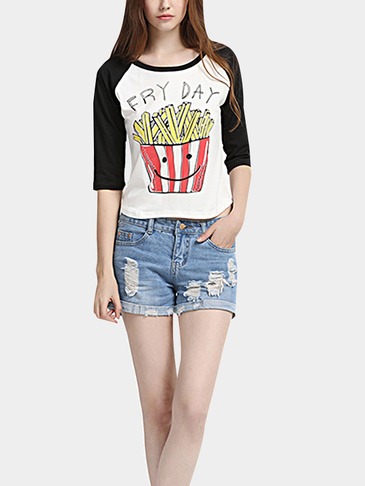 Fry Day Letter and Fries Pattern Round Neck T-shirt
