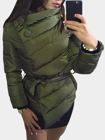 Army Green Self-tie Design Causal Padded Outerwear