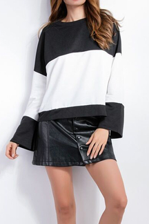 Black & White Splicing Loose Fit Sweatshirt