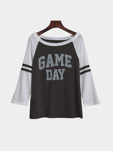 Grey & White Patchwork Round Neck Letter Pattern T-shirt
