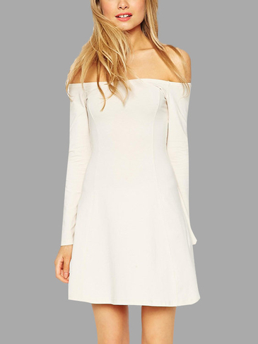Milky White Fashion Off Shoulder Long Sleeves Mini Dress