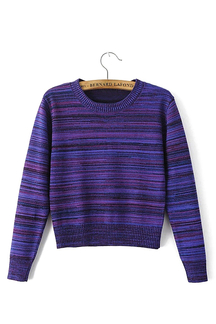Long Sleeve Cropped Sweater in Purple
