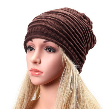 Coffee Causal Knitted Rib Beanie