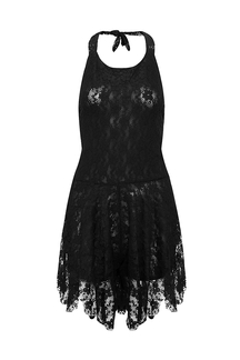 Black Halter Backless Playsuit with Lace Details