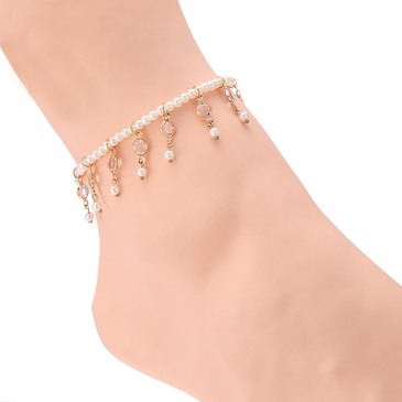 Gold Plated Artificial Pearl Stretch Anklet