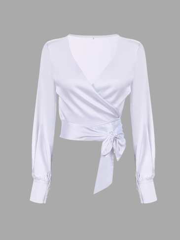 Wrap Front V-neck Top with Long Sleeves