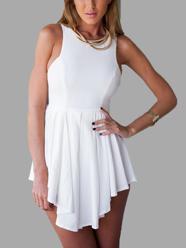 White Sleeveless Asymmetrical Hem Playsuit