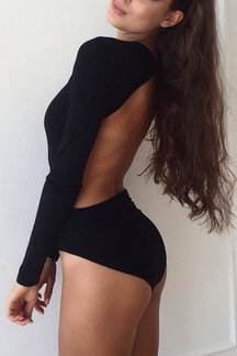 Black Sexy Bodycon Bodysuit with Hollow Design